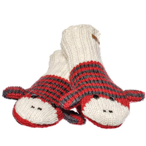 (Knitwits Delux Red & Black Striped Sock Monkey Wool Knit Mittens)