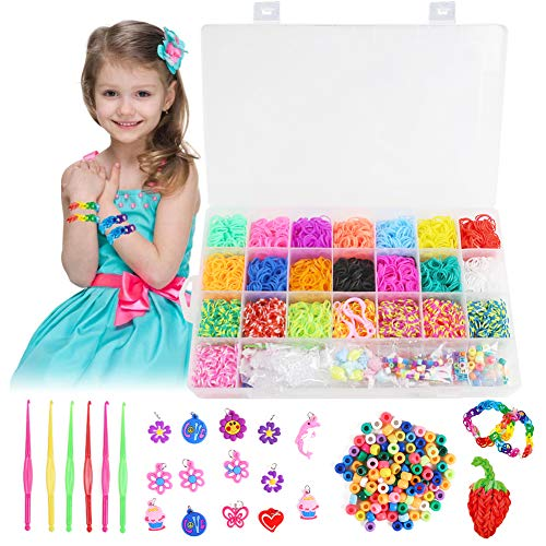 Koogel 5244+ Rainbow Rubber Bands Refill Set,4400+ Premium Quality Loom Rubber Bands 35 Pendants,6 Small Crochets,300 Beads Pack,500 S Buckles, Organizer for DIY Bracelets Jewelry Dolls Hats