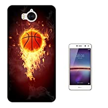 003066 - Basketball on fire Design Huawei Y6 (2017) Fashion Trend CASE Gel Rubber Silicone All Edges Protection Case Cover