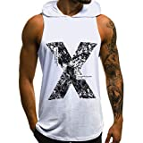aiNMkm Men's T-Shirt Thick Collar,Men's Casual Slim Letter Printed Sleeveless Hooded Tank Top T Shirt Top Blouse,White,M