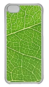 Customized Case Green leaf texture PC Transparent for Apple iPhone 5C