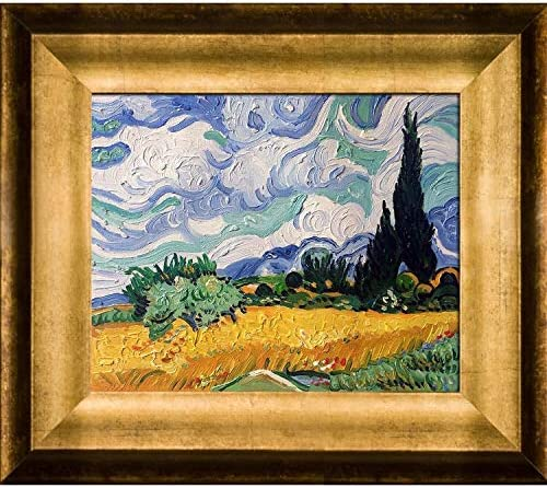 overstockArt Wheat Field with Cypresses with Athenian Gold Framed Oil Painting, 15 x 13 , Multi-Color