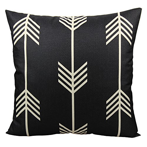 All Smiles Nordic Feather Arrow Throw Pillow Case Cushion Cover Pillowcase 18X18 Decorative Cotton Linen Black and White for Sofa Couch Bed
