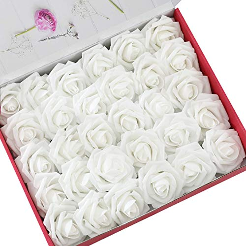 - DerBlue 60pcs Artificial Roses Flowers Real Looking Fake Roses Artificial Foam Roses Decoration DIY for Wedding Bouquets Centerpieces,Arrangements Party Home Decorations