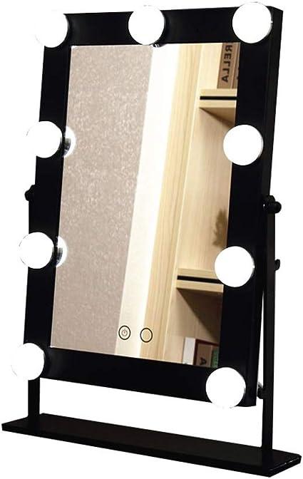 Espejos de Pared Espejo de vanidad con Luces LED Bombillas Iluminado Kit Espejo de Maquillaje de Estilo Hollywood para Maquillaje Mosquiteras Accesorios de baño (Color : Negro): Amazon.es: Hogar
