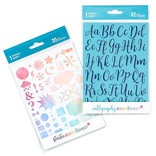 (Erin Condren Designer Stencil Sheet 2-Pack - Assorted Shapes & Calligraphy)