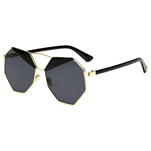 6f67b2e1f83 SkyWear Womens Mirrored Lens Sunglasses Vintage Design Octagon Shape Uv400  Sunglasses (Black Lenses)