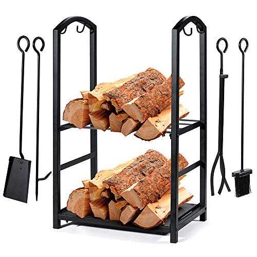 Syntrific Fireplace Log Rack with 4 Fireplace Tools Fireplace Log Holder for Indoor and Outdoor Heavy Duty Steel Black Fireplace Log Rack Wrought Iron Logs Bin Holder for Fireplace Tool Set ()