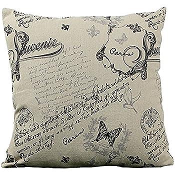 HeroNeo 45x45cm Classic European Cotton Linen Cushion Cover Throw Pillow Case Home Decor (Small butterfly)