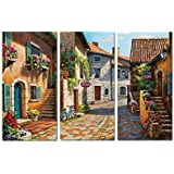 Decor Well Italy Tuscan Village Landscape Painting Print on Stretched Canvas Wall Art Set of 3