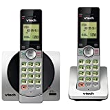 VTech DECT 6.0 Dual Handset Cordless Phones with CID, Backlit Keypads and Screens, Full Duplex Handset Speakerphones, and Call Block Silver/Black