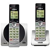 VTech DECT 6.0 Dual Handset Cordless Phones with CID, Backlit Keypads and Screens, Full Duplex Handset Speakerphones, and Call Block Silver/Black