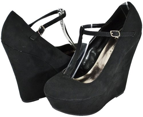 Breckelle Cilo-15w Black Wedge Pumps Donna, 8,5 M Us
