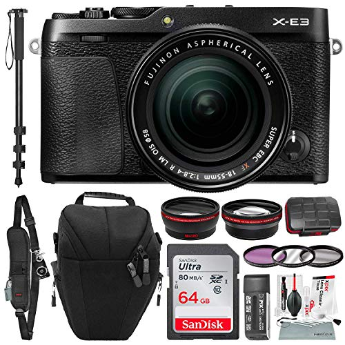 Fujifilm X-E3 Mirrorless Digital Camera w/XF 18-55mm Lens (Black) with 64GB and Xpix Cleaning Kit Deluxe Bundle
