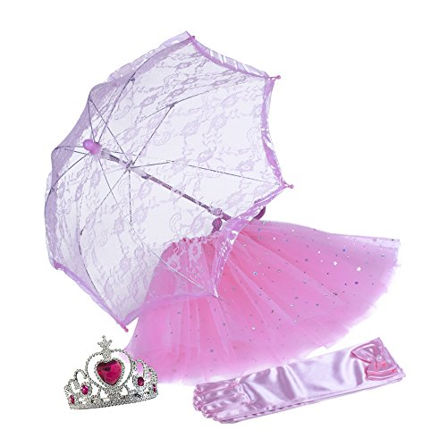 [SmitCo LLC Girls Dress Up Accessories, Pink Princess Play Set For Little Kids and Toddlers, Includes Glitter Tutu Skirt, Lace Umbrella, Long Pink Satin Gloves And A Shiny Silver] (Tutu Costume Ideas For Toddlers)