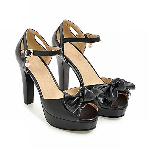Mee Shoes Damen high heels ankle strap Peep toe Sandalen Schwarz