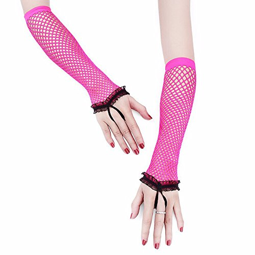 Lace Keyhole Fingerless Gloves (BUNITA,1 Pair Women Fingerless Gloves Sexy Party Lace Mittens Mesh Nets Performance Gloves,sexy gloves (Rose))