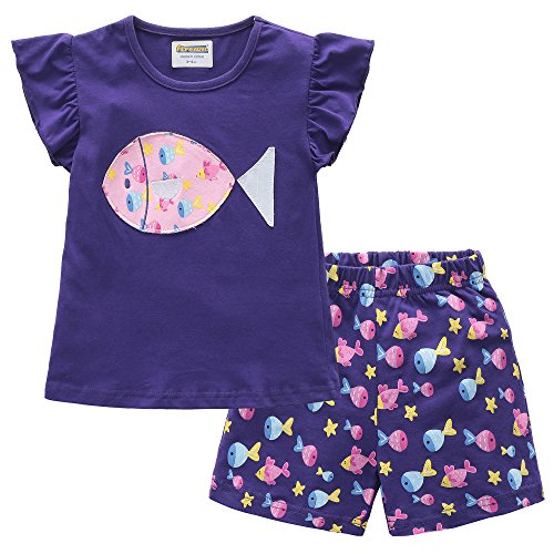 Fiream Girls Cotton Clothing Sets Summer Shortsleeve Fish t-shirts and Shorts 2 pieces Sets(18004,4-5YRS) - Fish Short Sleeve Tee