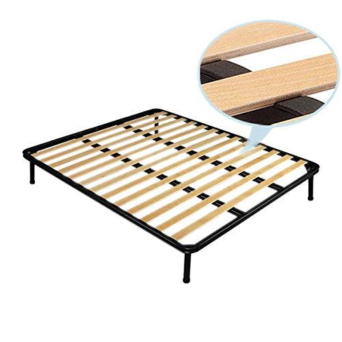 Rete ortopedica Matrimoniale 160×190 CM struttura in ferro con doghe in legno e piedi 30 cm inclusi Prezzi offerte