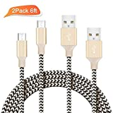 ilikable Micro USB Cable 2 Pack 6ft High Speed Android Charging Cable Charger Cord for Samsung LG HTC Phones and Tablets - Gold