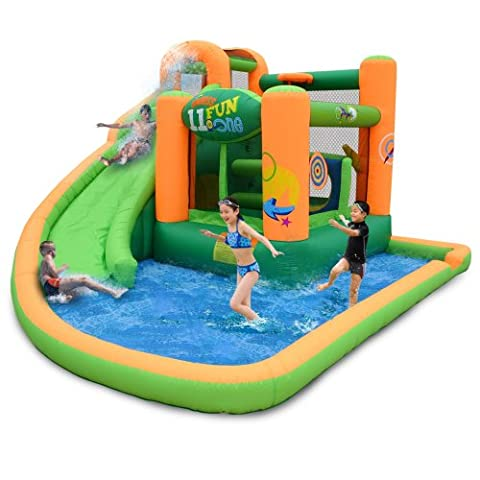 KidWise Endless Fun 11 in 1 Inflatable Bouncer and Water Slide - Bounce Houses Water Slides