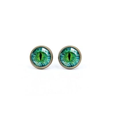 Pendientes de ojo de gato verde, joyería de ojos, accesorios ...
