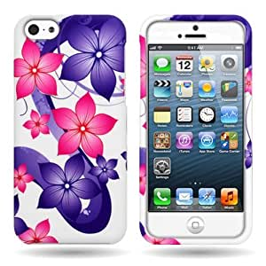 Pink Purple Hibiscus Flower Hard Slim Case for Apple Iphone 5C - with Cover Removal Pry Tool