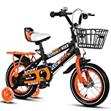 Zhijie Kids Bikes,2-9 Year Old Children's Bicycle, Boys Girls Pedal Tricycle, High Carbon Steel Frame, Silent Flash Assist Wheel,4 Sizes (12 Inches / 14 Inches / 16 Inches/ 18 Inches) Orange