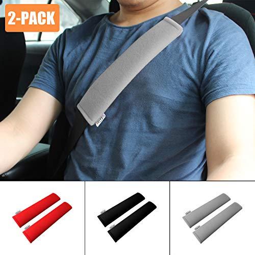 Belt Seat Covers Car (GAMPRO Car Seat Belt Pad Cover, 2-Pack Soft Car Safety Seat Belt Strap Shoulder Pad Adults Children, Suitable Car Seat Belt, Backpack, Shoulder Bag(GRAY))