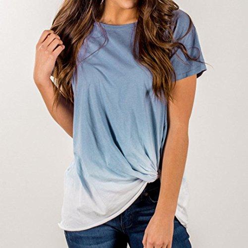Tops Dcontracte Hauts S Manches 46 Femmes Shirt Femmes Top Chemise Guesspower Dames 36 Blouse Blouse T T Shirt XXL Gradient T Shirt Bleu Casual Couleur Courtes Nou qBT81