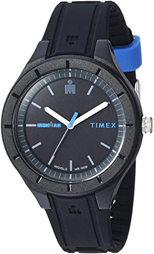 man Essential Urban Analog 38mm Black/Blue Silicone Strap Watch ()