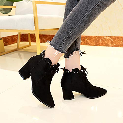 Black Block Creazrise Chunky Boots Womens Ankle Heel Toe Strappy Pointed Suede 7 Black Bootie xOpqA6xw