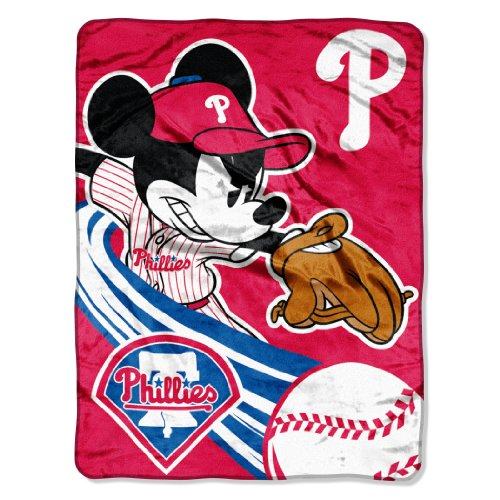 MLB Philadelphia Phillies Disney's Mickey CoBranded Micro Raschel Throw, 46