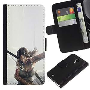 EJOY---Tirón de la caja Cartera de cuero con ranuras para tarjetas / Samsung Galaxy S4 Mini i9190 / --T0Mb Raider Lara Cr0Ft