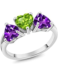 2.13 Ct Heart Green Peridot Purple Amethyst 925 Sterling Silver 3-Stone Ring (Available in size 5, 6, 7, 8, 9)