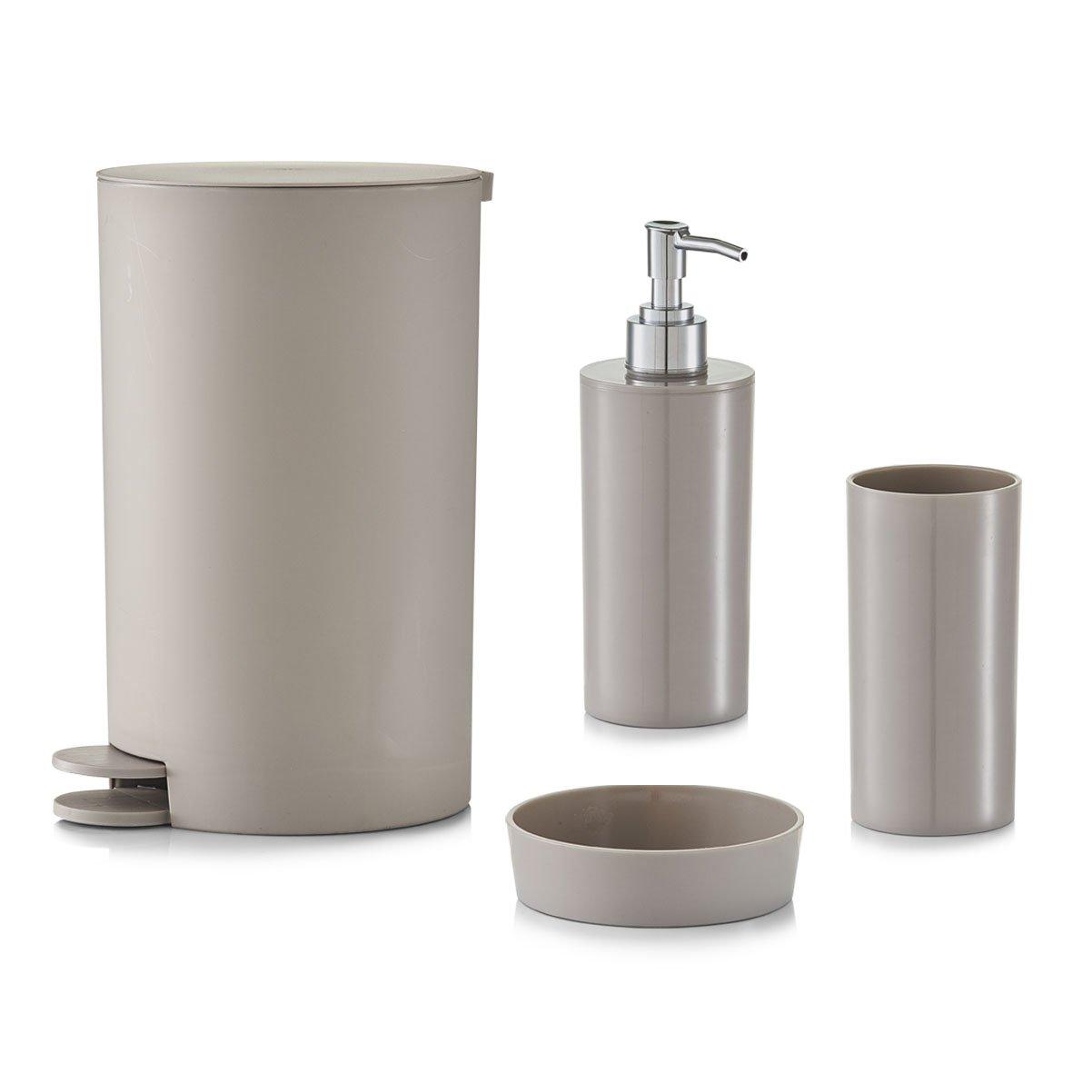 14,5x15,5x27cm in Taupe Zeller Bathroom Accessories Set 4pcs 14.5 x 15.5 x 27 cm