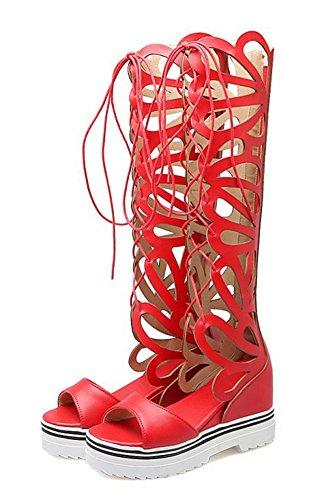 Easemax Femmes Bout Ouvert Découpe Zip Haut Talon Compensé Auto-cravate Plate-forme De Gladiateur Bottes Sandales Rouge