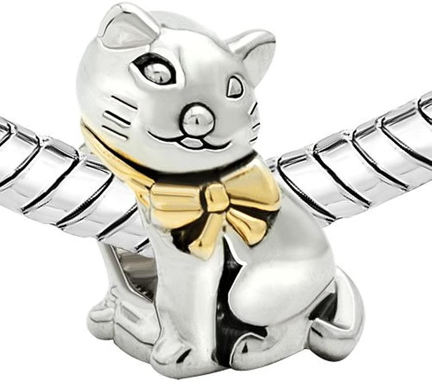 Hermoso abalorio para pulsera con forma de gato, de Uniqueen, adecuado para brazaletes Pandora