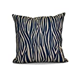 E by design 26 x 26-inch, Wood Stripe, Geometric Print Pillow, Navy Blue