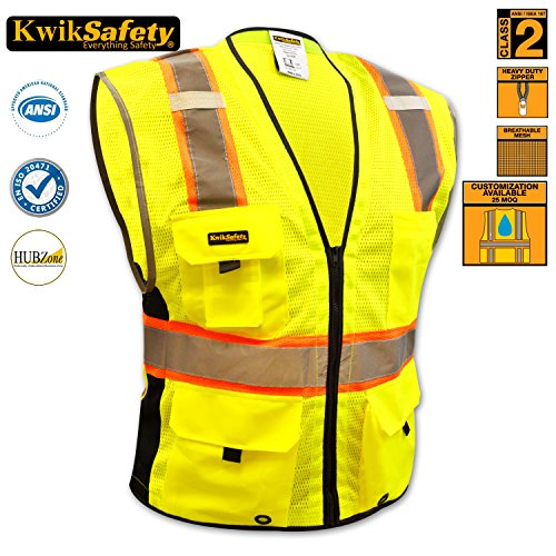 [KwikSafety Class 2 Deluxe Safety Vest | Comfortable Reflective Breathable Mesh w/ Contrast Trimming & Heavy Duty Zipper | Construction Motorcycle Traffic Running Emergency | Men Women | Yellow] (Horse Costume Class)