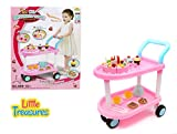 Little Treasures Kids Parts Play set DIY Birthday Cake 59 pcs birthday party toy set for girls ages 3+ including a movable trolley, cakes, biscuits, plates, spoon, knife, fork, tea cups and teapot.