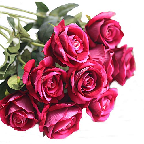 Pink Rose Hot Bouquet (cn-Knight Artificial Flower 12pcs 22'' Long Stem Silk Velvet Rose Real Touch Faux Flower for Wedding Bridal Bouquet Bridesmaid Home Decor Office Hotel Baby Shower Party Prom Centerpiece(Rose Red))