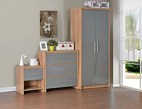 Seconique Seville Bedroom Set, Light Oak Veneer/Grey High Gloss, 76 x 47 x  180 cm