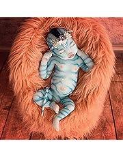 Avatar docka 12-tums söt simulering manliga och kvinnliga dockor mjukt silikon material handgjorda återfödelse docka barns följeslagare leksak present (pannband slumpmässigt valt)