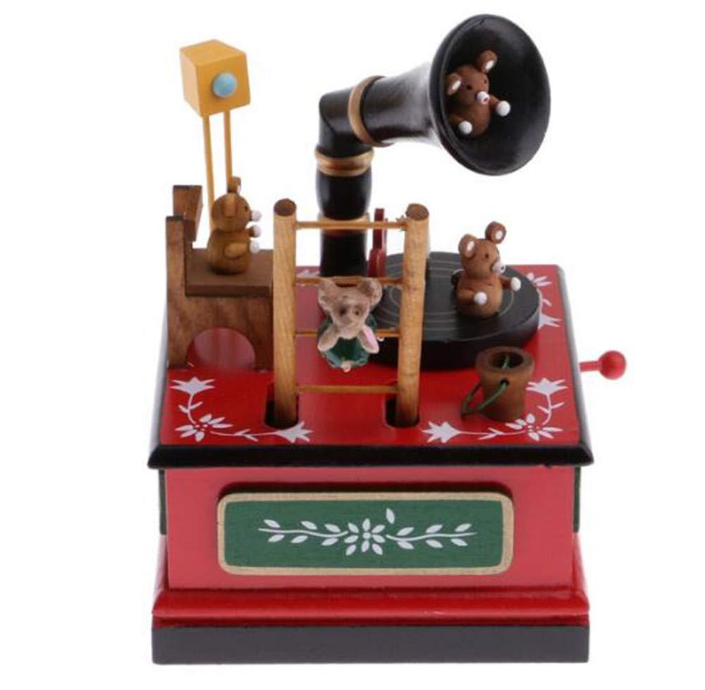 Biscount メリークリスマス グラモフォン グラモフォン オルゴール 木製 木製 おもちゃ オルゴール 時計仕掛けラット 熊 オルゴール B07JM6TTP8, 鶴居村:a8aa156c --- itxassou.fr