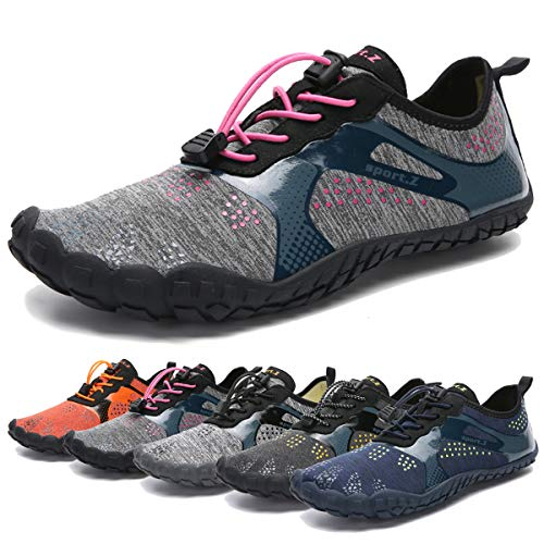 Water Shoes for Men and Women Barefoot Quick-Dry Aqua Sock Outdoor Athletic Sport Shoes for Kayaking, Boating, Hiking, Surfing, Walking (B-Gray/Pink, 37)