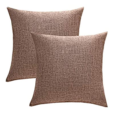 Anickal Set of 2 Solid Cotton Linen Decorative Throw Pillow Covers 18 x 18 Inch for Sofa Couch Décor (Burgundy)