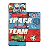 Kids Boys Thomas The Train Themed Nap Mat, Railway Race Tank Engine Track Team Sleeping Pad, Exciting Cartoon Trains Characters Crimson Cobalt Red Blue Green White Light Travel Bed Roll, Polyester