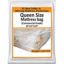 Queen Mattress Bag For Moving - Heavy Duty Plastic Cover Protector 5 Mil Thick - Reusable Storage Solution