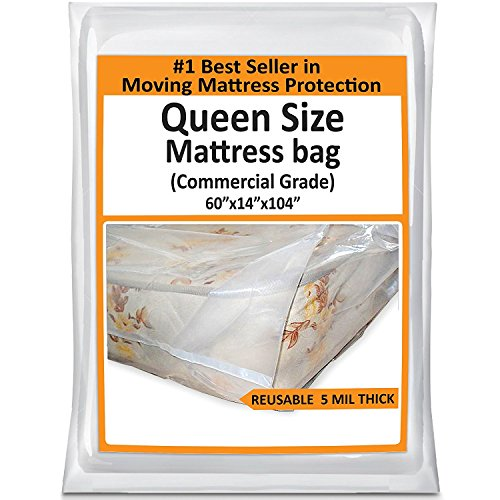 Queen Mattress Bag For Moving - Heavy Duty Plastic Cover Protector 5 Mil Thick - Reusable Storage Solution (5 Paper Dust Bags)